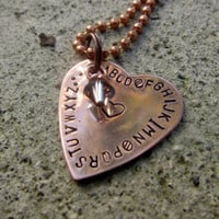 "alphabet LOVE - Valentine's 1"" Copper Heart necklace - Made to Order"