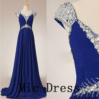 V-neck straps sleeveless floor-length chiffon crystal sequins beading long  prom/Evening/Party/Homecoming/cocktail /Bridesmaid/Formal Dress