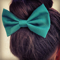 Green BIG hair bow1 by colordrop on Etsy