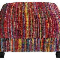 One Kings Lane - Marrakech Express - Sari Silk Ottoman, Multi