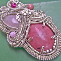 Rhodonite and Rose Quartz Pendant - Pink Passions