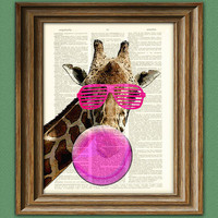 Sharona the 80's Giraffe blowing pink Bubblegum by collageOrama