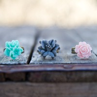Turquoise, Grey & Pale Pink Cabochon Rings Vintage Style - Melon | Luulla