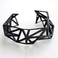 fall fashion black geometric cuff  Triangulated Cuff by ArchetypeZ