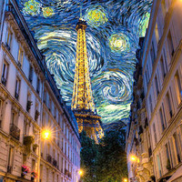 Midnight in Paris  Eiffel Tower Photograph Van Gogh by robertcrum