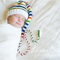 Funky Newborn Baby Munchkin Hat striped Stocking by MadAboutColour