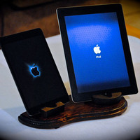 "The dark ""Dual Dock"" custom handcrafted wooden docking station for iPhone, iPod, iPad and iPad mini plus Kindle Fire and Nook tablets"