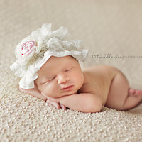 Lace baby hat cute with a matching petti romper by IzzysAttic
