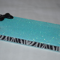 Glitter &amp; Bow with Zebra Glitter iPhone 4/4S Case