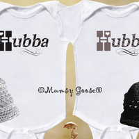 Funny Twin Baby Boys Onesuit  with beanie hats by by MumsyGoose