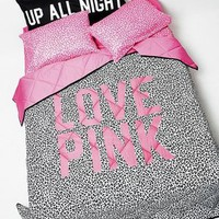 victorias secret pink full/queen comforter AND queen sheet set animal love pink