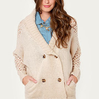 Bundled Up Joy Beige Cardigan Sweater