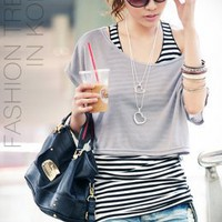 Two Pieces Korean Stripe Grey Ladies T-shirts  : Wholesaleclothing4u.com