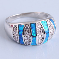 Blue 925 Silver Zircon Band Ring at Online Jewelry Store Gofavor