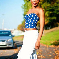Blue Polka Dot Bustier Crop Top