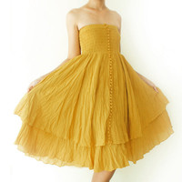 Strapless Ruffle Dress or Maxi Skirt in Mustard Yellow by oOlives