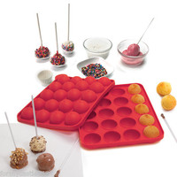 Norpro Silicone Cake Pop Pan With 20 Sticks Red, Bite Size Treats On A Stick