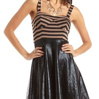 Stripe Top Pleather Skater Dress: Charlotte Russe