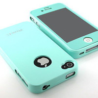 GnJ New Mint Gloss Silicone tpu case cover+same color film for iPhone 4 4S 4G