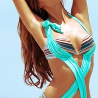 Aqua di Lara White Label 2013: Caicos Blue One Piece Bathing Suit Monokini MARISA