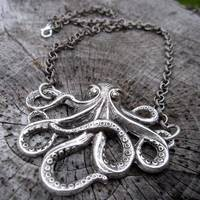 Silver Octo Necklace - $20.00 : RagTraderVintage.com, Handmade Indie Retro Accessories