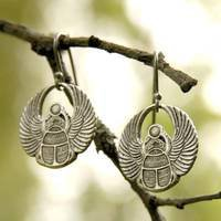 Silver Egyptian Scarab Earrings - $12.50 : RagTraderVintage.com, Handmade Indie Retro Accessories