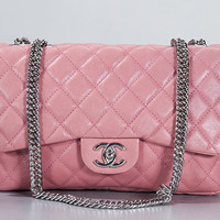 Chanel Glazed Pink Calf Leather Jumbo Flap Bijoux Chain Bag New