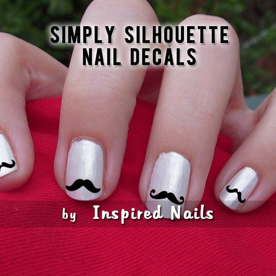 Mustache Nail Decals Black and Clear Simply by InspiredNails