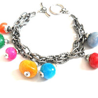 Bracelet gunmetal double textured chain multicolored by Daniblu