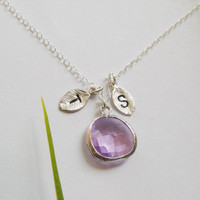 Two Initial Necklace Lilac Glass Stone Necklace by DanglingJewelry