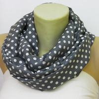 Polka dot necklace scarf/loop scarf in Grey by SenaShop on Etsy