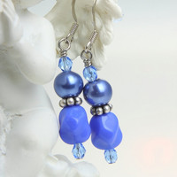 vintage glass beads earrings glass pearls by WakeUpTheAngel