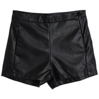 ROMWE | Black Vinyl Shorts, The Latest Street Fashion