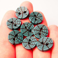 Spider Web Buttons In Teal SetOf4 Handmade In Polymer Clay | Luulla