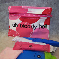 Oh Bloody Hell Tampon &amp; Maxi Pad Taxi PINK Zippered Fabric Purse Pouch / Tampon Keeper