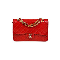 Chanel - CHANEL Vintage 1986 Red Lambskin Classic 2.55 Double Flap Bag GH
