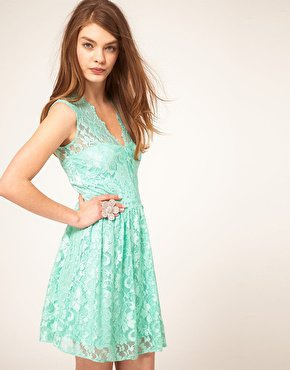 ASOS | ASOS Sleeveless Skater Dress In Lace at ASOS