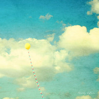 yellow balloon love, sky, fine art photography