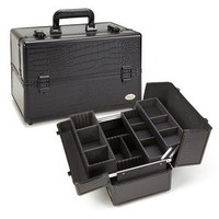 Black Croc Makeup Brush Organizer Cosmetic Train Case Kit Bag Beauty Box TS46ABG