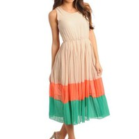 COLOR BLOCK PLEATED CHIFFON DRESS -CREAM ORANGE GREEN   Tanny&#x27;s Couture LLC