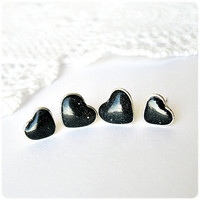 Galaxy Set of four tiny Hearts studs earrings Space Heart jewelry