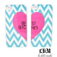 TIFFANY blue CHEVRON best bitches cases one for you one for your best bitch iPhone 4/4s iPhone 5 itouch 4&amp;5 chevron pink heart