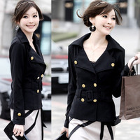 Korean Womens Collared Double-breasted Belt Black Casual Jacket