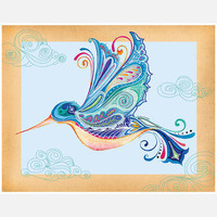 Green Girl Canvas: Funky Hummingbird 14x11, at 16% off!