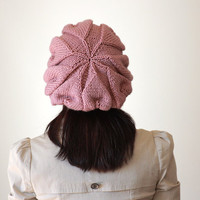 Knit Slouch Hat for Women - Dusty Rose color - beret Hat for women - Fall 2012 trends -Pastel fashion
