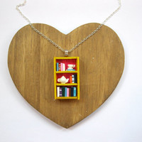 Tea Shop Bookshelf Necklace by Coryographies (Made to Order)