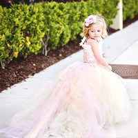 Lace Flower Girl Dress with Train-Formal Wear Tutu Detachable Train--Pink Champagne--Summer Weddings