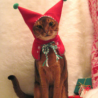 wool embroidered Meowy Christmas Holiday Elf Hood by CatAtelier