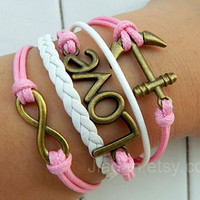 Bracelet - cute pink wax rope woven bracelet, bronze infinite hope, love, anchor bracelet