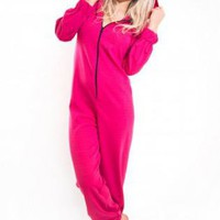 Pink Long Sleeve Zip Up Onesuit with Hood